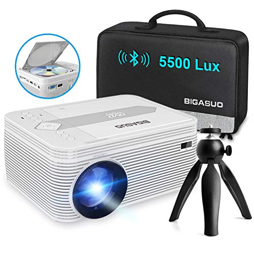 BIGASUO [2021 Upgrade] Full HD Bluetooth Projector with Built-in DVD Player, Portable Mini Projector 5500 Lumens Compatible with iPhone/iPad/HDMI/VGA/AV/USB/TF SD Card, 720P Native 1080P Supported