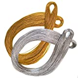 Gold Silver Ornaments String Sparkle Thin Thread For Braids Dreadlocks Twists Gift Tags Metallic Hair Wrap String,100M/109 Yards-1mm Craft Cords