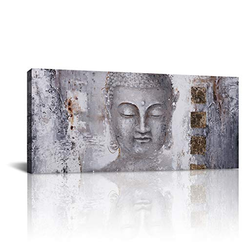 Sculpture of A Buddha Modern Wall Art Canvas Oil Painting Picture Posters Print Home Living Room Decor (24x48 Inch,Wooden Frame)