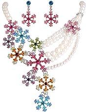 EVER FAITH Set Gioielli Donna, Cristallo Perla simulata Inverno Fiocco di Neve Collana Orecchini Set