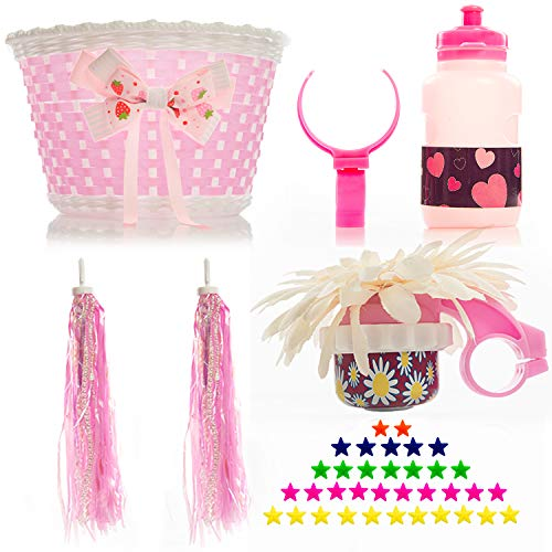 Bikes on Hikes Girl's Bicycle Decorations Set - Fun Bicycle Decor w Beads, Rear View Mirror, Mounted Water Bottle, Handlebar Streamers & Basket - Complete Bike Decoration Kit for Kids (Pink)