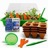 Mini invernadero – 38 x 25 x 19 cm – Juego completo con 24 macetas de turba + 1 L de tierra de cultivo, incluye kit de cultivo profesional – caja de cultivo