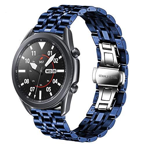 Correa de repuesto compatible con Galaxy Watch 46 mm/Galaxy 3 45 mm, 22 mm, acero inoxidable, correa de repuesto de metal para Samsung Gear S3 Frontier/Classic/Huawei GT2 46 mm mujeres hombres (azul)