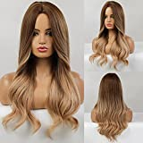 Peluca larga marrón HAIRCUBE para mujer, pelucas naturales de Ombre, pelucas sintéticas, pelucas...