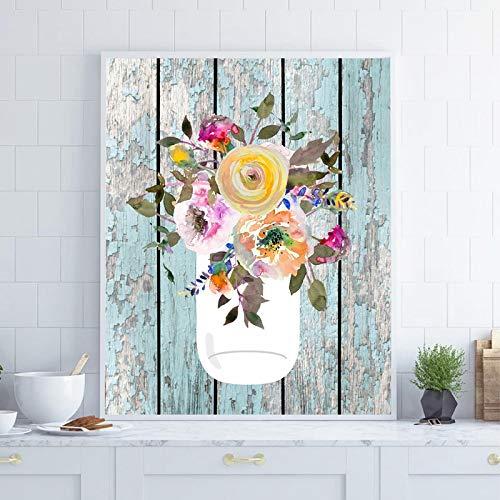 Cartel de granja impresiones tarro de masón acuarela arte lienzo pintura aguamarina decoración del hogar cuadro de arte de pared cocina decoración de pared-60x80cm sin marco
