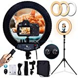 18 Inch Ring Light LED Ringlight Kit with Tripod Dimmable 3000-6000K w/Smartphone Holder for Live Streaming YouTube Vlog Video Shooting Camera Photography Makeup Selfie