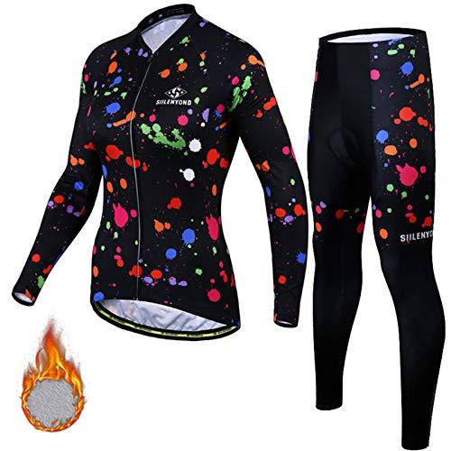 Maillot Ciclismo Mujer Manga Largo y Pantalones Ajustados 3D Acolchado Forro Térmico de Lana Anti-Viento Invierno Otoño Primavera Men's Cycling Suits BC-21,A,L