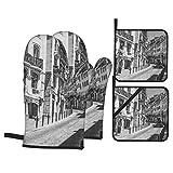 Juego de 4 Guantes y Porta ollas para Horno Resistentes al Calor Calles estrechas en el Distrito histórico de Lisboa Lisboa Portugal Junio para Hornear en la Cocina,microondas,Barbacoa