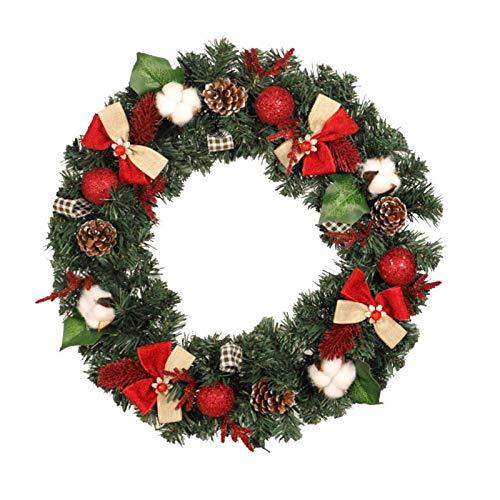 Zjcpow Corona de Navidad Corona de Navidad Decoraciones de Puerta Corona Colgantes Ornamentos Decoración de Navidad