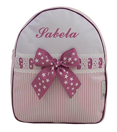 Der Rucksack, der Schulrazen, der Schultasche oder Kindergartentasche mit der Name personalisiert. Der Modell: Sabela (Rosa)