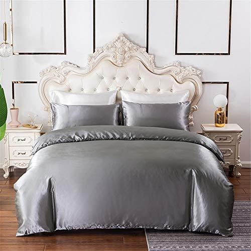 Chanyuan Juego de ropa de cama x 2 fundas de almohada de satén, lisas, cómodas, diferentes tamaños, gris ropa de cama (135 x 200 cm) + 1 funda de almohada (80 x 80 cm)