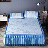 lxylllzs Cooling Topper Bed <span class='highlight'>Mattress</span> Rattan,Three-piece Folding Bed Skirt Cooling Mat Ice Silk Mat-200 * 220_2_2,Summer Rattan Mat <span class='highlight'>Bamboo</span> <span class='highlight'>Mattress</span>
