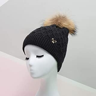 MZHHAOAN Knitted Hats for Women,Autumn and Winter Warm Earmuffs Hat,Ball Wooly Cap,Multi-Color Soft Hair Ball Cap