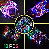 10PC LED Stirnband Bunt Leucht Hairband - Stirnband Haarband Verfassungs Partei Headwear für Kinder...