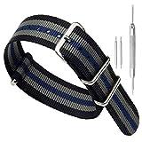 22 millimetri nero/grigio/blu Premium Deluxe stile NATO robusto nylon sportivo da polso cinturino bracciale da uomo esotico