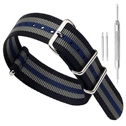 Black/Grey/Blue High-end Superior NATO Style Ballistic Nylon Watch Band Strap Replacement for Men