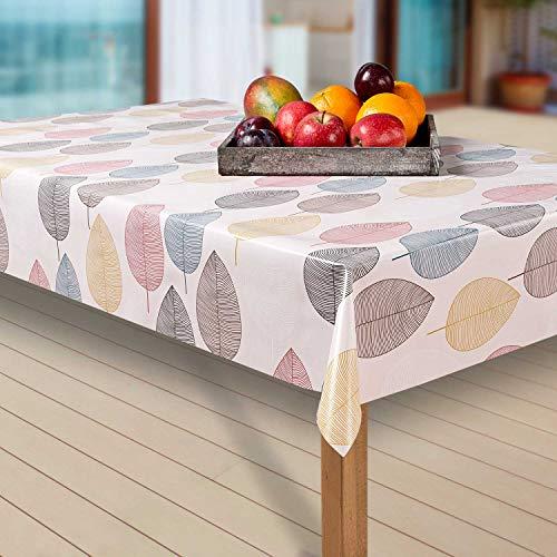 laro Wachstuch-Tischdecke Abwaschbar Garten-Tischdecke Wachstischdecke PVC Plastik-Tischdecken Eckig Meterware Wasserabweisend Abwischbar AP, Größe:100-140 cm, Muster:Blätter, bunt/weiß