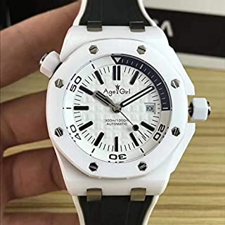 ZYYDTY - Reloj automático Marca Hombres Acero Inoxidable Buzo mecánico automático Zafiro Relojes de cerámica Blanca Caucho Negro Royal Oaks ETA3120
