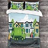 3D Juego Funda De Diseño Personalizado,Camión en la carretera con casas en el fondo Hombres recogiendo la basura,Ropa de Cama Set 1 Edredón 2 Fundas de Almohada Microfibra jueg,200*200cm*1