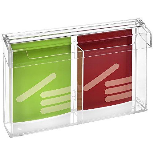 2-Fach DIN A5 Prospektbox/Prospekthalter/Flyerhalter im Hochformat, wetterfest, für Außen, mit Deckel, aus glasklarem Acrylglas - Zeigis®