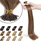 Extension Cheveux Naturel a Froid 100 Mèches #06 Châtain clair - Pre Bonded I Tip...