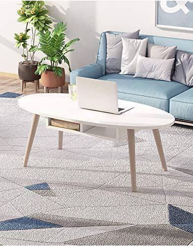 Mesa de centro, con almacenamiento y estante para sala de estar de oficina, muebles modernos, espresso vintage,Blanco