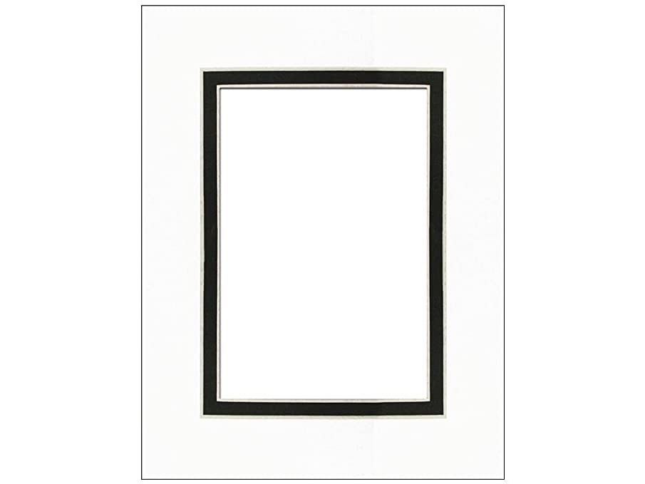 Pre-cut Double Photo Mat Board by Accent Design White Core 8 x 10 in. for 5 x 7 in. Photo White/Black