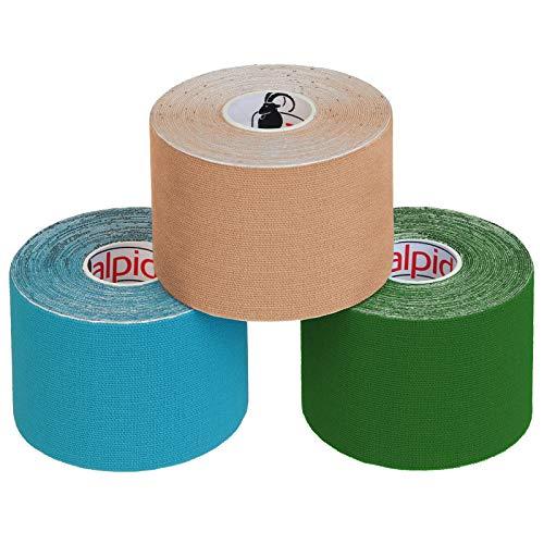 ALPIDEX Cinta Kinesiología Tape 5 m x 5 cm Cinta Muscular E Book Ejemplos Aplicación Colorcolores surtido Cantidad12 rollos
