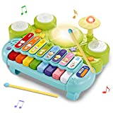 Costzon 3 in 1 Musical Toys, Electronic Piano Keyboard Xylophone Game Drum Set,Kids' Drum Instrument Toys with Lights, 8 Xylophone Keys, 5 Piano Sound Modes for Toddlers Baby Boys Girls Best Gifts