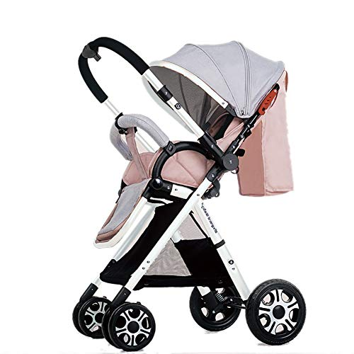 Yhz@ High Landscape Baby Stroller Handle Reversible Infants Buggy se Puede sentar y tumbarse DownUltralight Portable Foldable Child Cart Sillas de Paseo (Color : Pink (2))