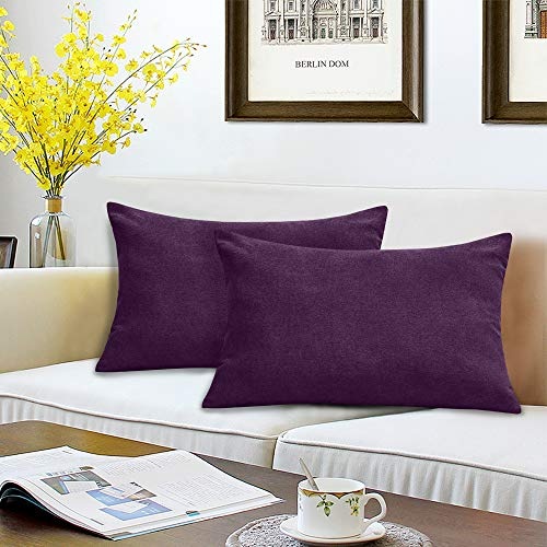 BALCONY & FALCON Pack of 2 Velvet Pillow Cases Decorative Square Cushion Covers with Invisible Hinges for Sofa Bedroom Home Car 45x45cm/50x30cm 50x30cm Arancione