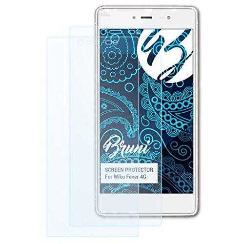 Bruni Schutzfolie kompatibel mit Wiko Fever 4G Folie, glasklare Bildschirmschutzfolie (2X)