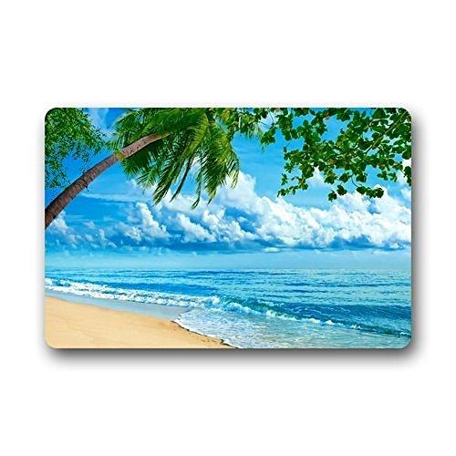 Xiaos Paillasson Nature Paysage Tropical Blue Sea Ocean Beach Custom lavable en machine Tissu et semelle antidérapante Intérieur/extérieur Paillasson Tapis de sol 23,6 (L) x 15.7 (L) pouces