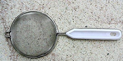 Teesieb Metall Küchensieb Sieb mit Metall-Kunststoffgriff, 8cm Durchmesser, 20cm lang
