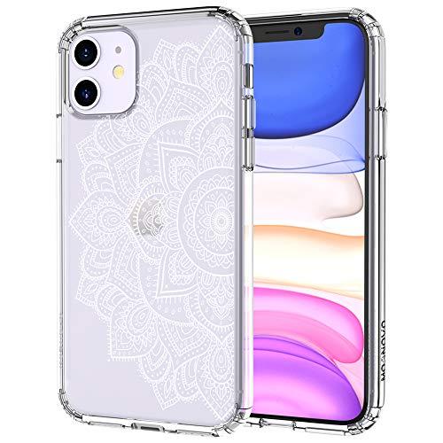 MOSNOVO iPhone 11 Hülle, Henna Mandala Blumen Muster TPU Bumper mit Hart Plastik Hülle Durchsichtig Schutzhülle Transparent für iPhone 11 (2019) (Half Mandala)