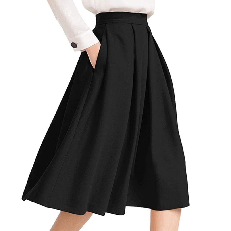 Women Fashion Vintage Midi Knee Length Pleated Skirt Flared Stretchy High Waist Party Daily Skirt by Lowprofile