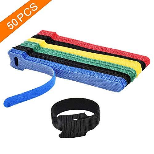 50 Piezas Bridas Correas Sujetacables de Colores Bridas para Cables Reutilizables de Cierre Mágico Ajustables, Bridas