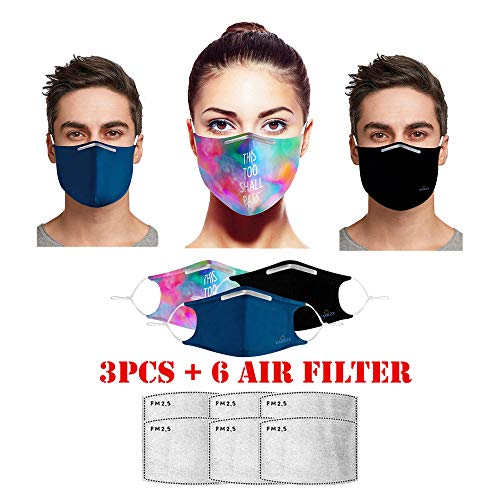 3 Pcs Face Bandanas with 6 Air F...