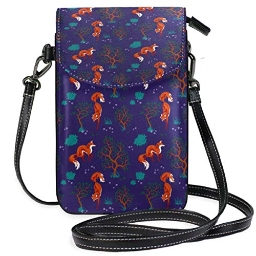 XCNGG Foxes Pattern Navy Blue Cell Phone Purse Wallet for Women Girl Small Crossbody Purse Bags