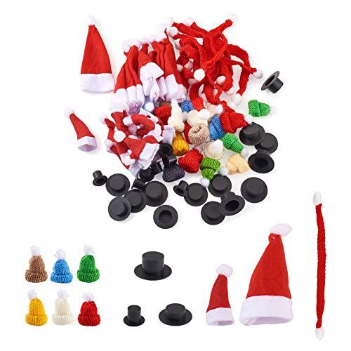 Craftdady 120 Mini Gorro navideño mini bufandas y miniatura accesorios Sombreros de Copa negros para manualidades, muñecas, muñeco de nieve, árbol de vino, decoración de botellas de vino
