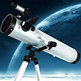 Reflector profesional Telescopio de astronomía adulto, Longitud focal de 125 mm de calibre 700mm, telescopios for astronomía, principiantes y niños, telescopio de reflexión con trípode ajustable (Colo