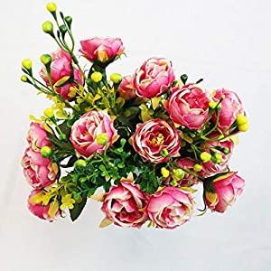 PLAN LIFE Artificial Flowers Silk Small Peony with Gypsophila 20 Heads Fake Flowers Elegant Home, Office, Wedding, Garden Decoration, Pack of 2 – Small Peony (Pink)