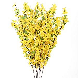Silk Flower Arrangements HO2NLE 6 PCS 25.5inch Artificial Flowers Yellow Silk Fake Winter Jasmine Long Stem Artificial Orchids Flowers for Decoration Indoor Outdoor Wedding Home Bedroom Yard Cemetery