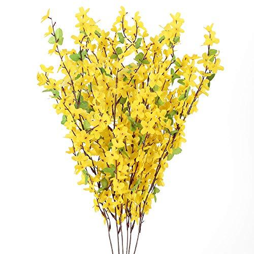 NAHUAA 6pcs Künstliche Blumen Sommer Kunstblumen Forsythie Gelb Seideblumen Plastikblumen Unechte Blumen für Drinnen Draußen Balkon Garten Topf Vase Tischdeko Zuhause Dekoration