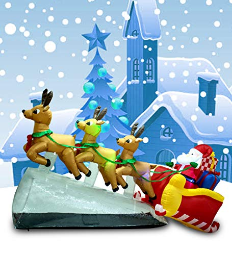 TRMESIA Christmas Inflatable 9.5feet Long Deer cart pulls Santa to The Sky, with 3 Built-in Flashes and 4 Always-on Lights, Suitable for Christmas Indoor and Outdoor Lawn Decoration Props