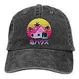 OJPOGHU Kame House Women's Adjustable Hat Vintage Washed Baseball Cap Black