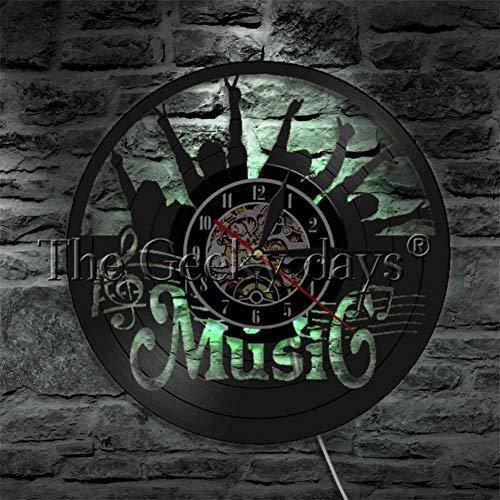 Reloj de Pared Pon Tu Mano Reloj de Pared Rock N Roll Disco de Vinilo Reloj de Pared Luz Colgante Decoración Moderna para El Hogar Regalo para Amante de La Música Rock