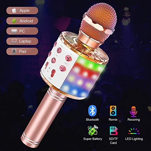 Karaoke Mikrofon Bluetooth mit Lichteffekte,Upgraded 4-in-1 Drahtloses Mikrofon für Kinder und Erwachsene zu Hause KTV/Party,Tragbares Handmikrofon mit Sprecher für Android/IOS/PC/laptop(Champagner)