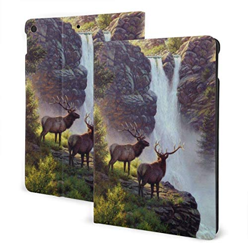 Bookcliffs Elk Waterfall Landscape Case for New Ipad 7th Generation 10.2 Inch 2019 Multi-Angle Viewing Folio Smart Stand Cover Auto Wake/Sleep for Ipad 10.2' Tablet