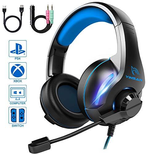 bon comparatif YINSAN TM7, casque de jeu PS4, casque de jeu avec microphone réglable pour la suppression du bruit, éclairage stéréo LED… un avis de 2021